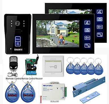 "Touch Key 7"" Video Door Phone Intercom System 1 RFID Keypad Code Number Doorbell Camera 2 Monitor with Electric Bolt Lock"
