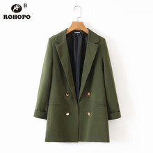ROHOPO Army Green Double Buttons V Collar Blazer Office Ladies Slim Fit Solid Outwear Girl Fold Sleeve Flared Hem Blazer #BM2193 army green loose fit hooded outwear