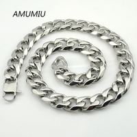 AMUMIU 18mm Width 40 70cm BIG Long Silver Color Chain Necklace Stainless Steel Link Men's Jewellry Wholesale HZN026