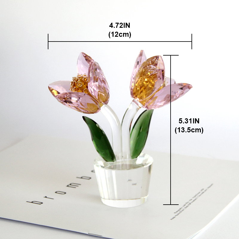 1 pcs Crystal Glass Tulip Flower Figurines Craft Wedding Valentine's Day favors and gifts Souvenir Table Decoration Ornaments - 5