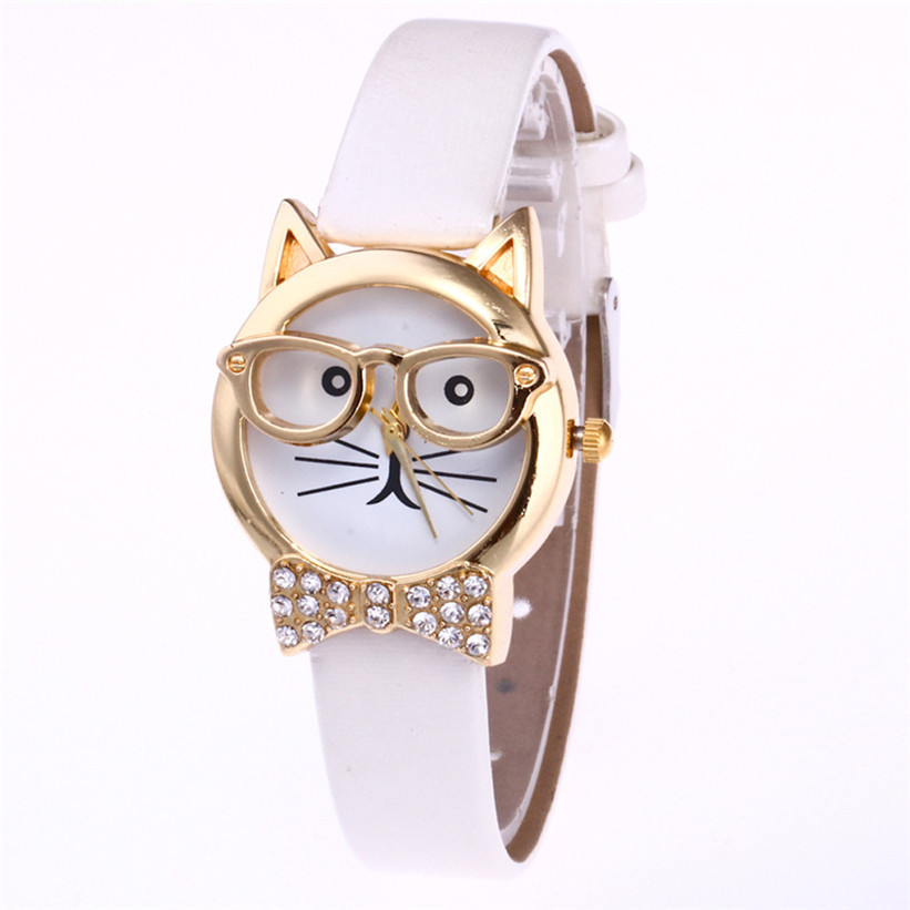 Relogio Feminino 2017 Fashion Clock Cute Cartton Glasses Cat Analog Quartz Dial Wrist Ladies Watch Women's Watches Montre Femme4 cute cat pattern women fashion watch 2017 leather band analog quartz round wrist watch ladies clock dress watches relogio time