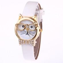 Relogio Feminino 2017 Fashion Clock Cute Cartton Glasses Cat Analog Quartz Dial Wrist Ladies Watch Women's Watches Montre Femme4