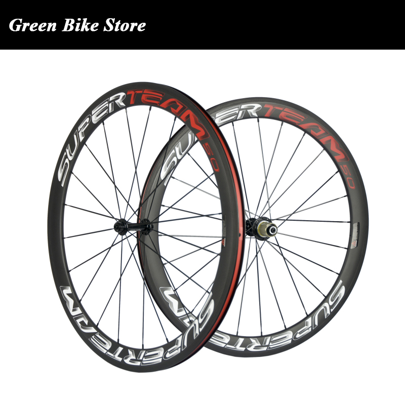 50mm Clincher Carbon Wheels Superteam Carbon Road Wheelset Basalt Braking Surface Powerway R13 Bicycle Wheel Tubular
