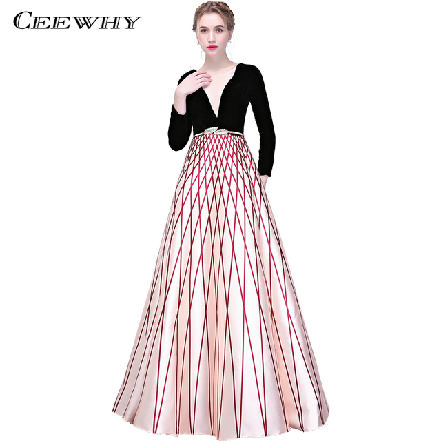 CEEWHY Plaid Prom Dress Long Evening Dress Long Sleeve Evening Gown ...