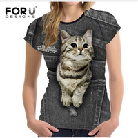 FORUDESIGNS Cute Cat Tee Shirts For Women Black Denim Dog T Shirt Femme Summer 3d Funny
