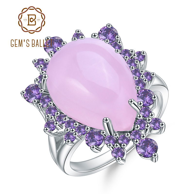 GEM'S BALLET Natural Pink Calcedony Gemstone Ring 925 Sterling Silver Vintage Halo Cocktail  Rings For Women Fine Jewelry