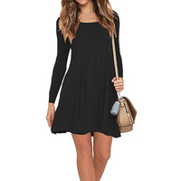 2017 Autumn Winter Women Fashion Long Sleeve Mini Sexy Dress Newest Crew Neck Casual Loose Solid