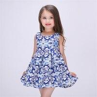 New Cotton Girls Dress Kids Sleeveless Dresses Toddler Blue Print Girl Princess Party Fashion Clothes Girls Dress 70C1019