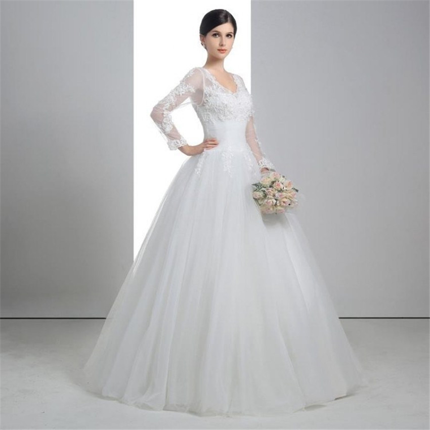 V Neck Wedding Dress Appliqued Full Sleeves Lace Up Low