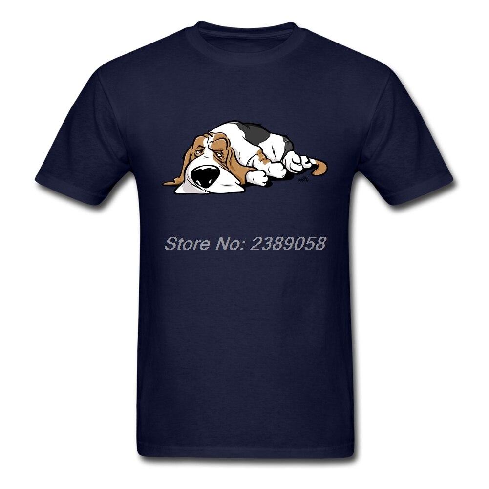 Men T Shirt Basset Hound Customized Latest Kawaii Cartoon Dog Tee