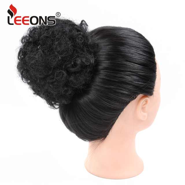 Leeons Blackbrown Curly Chignonwomen Donut Chignon Curly Synthetic