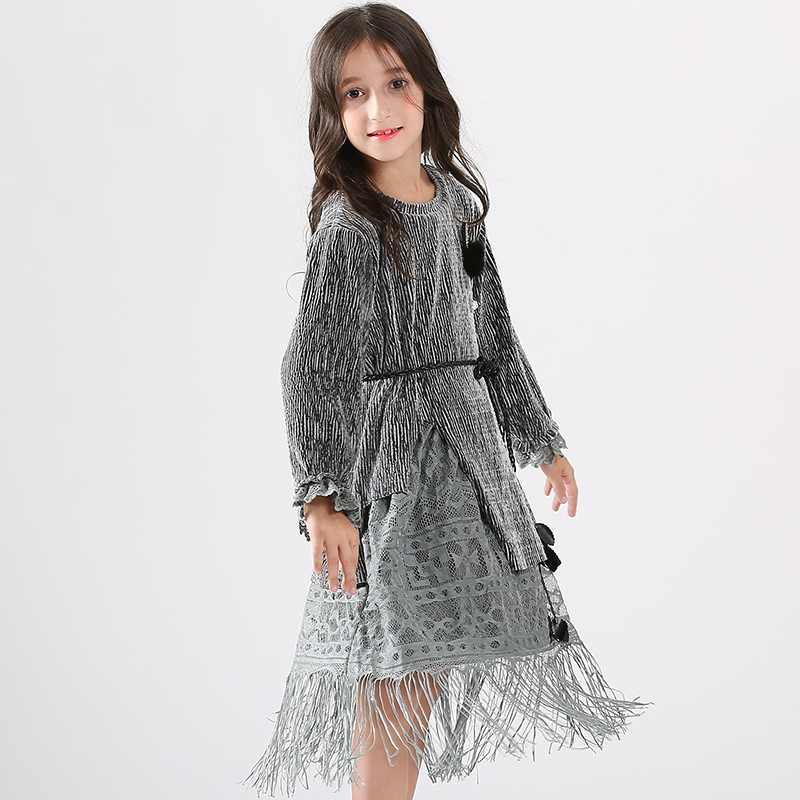 Filles soirée robe longue Style gland Design Shinning Hairball argent velours ceinture pour Age56789 10 11 12 13 14 ans - 2