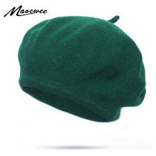 2019 jesienno-zimowa tanie sztuczna wełna jednokolorowe berety czapki damskie czapeczki damskie czapki Lady Painter pasuje do wszystkiego Warm Walking Hat tanie tanio Poliester Akrylowe Dla dorosłych Kobiety Na co dzień Stałe BL048 MAOCWEE