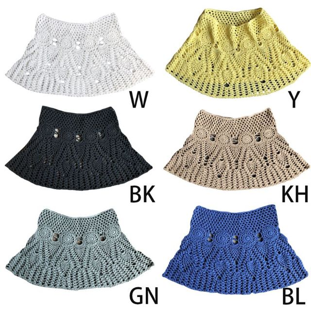 Womens Summer Handmade Lace Crochet Bikini Bottoms Skirt Solid Color Hollow Out Knitted Swimsuit Cover Up Ethnic Pattern Mini A- 4