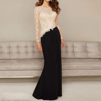 Sexy Black Champagne Lace Applique Beads Formal long Sleeve Evening Party gown vintage 2018 vestido Mother of the Bride Dresses