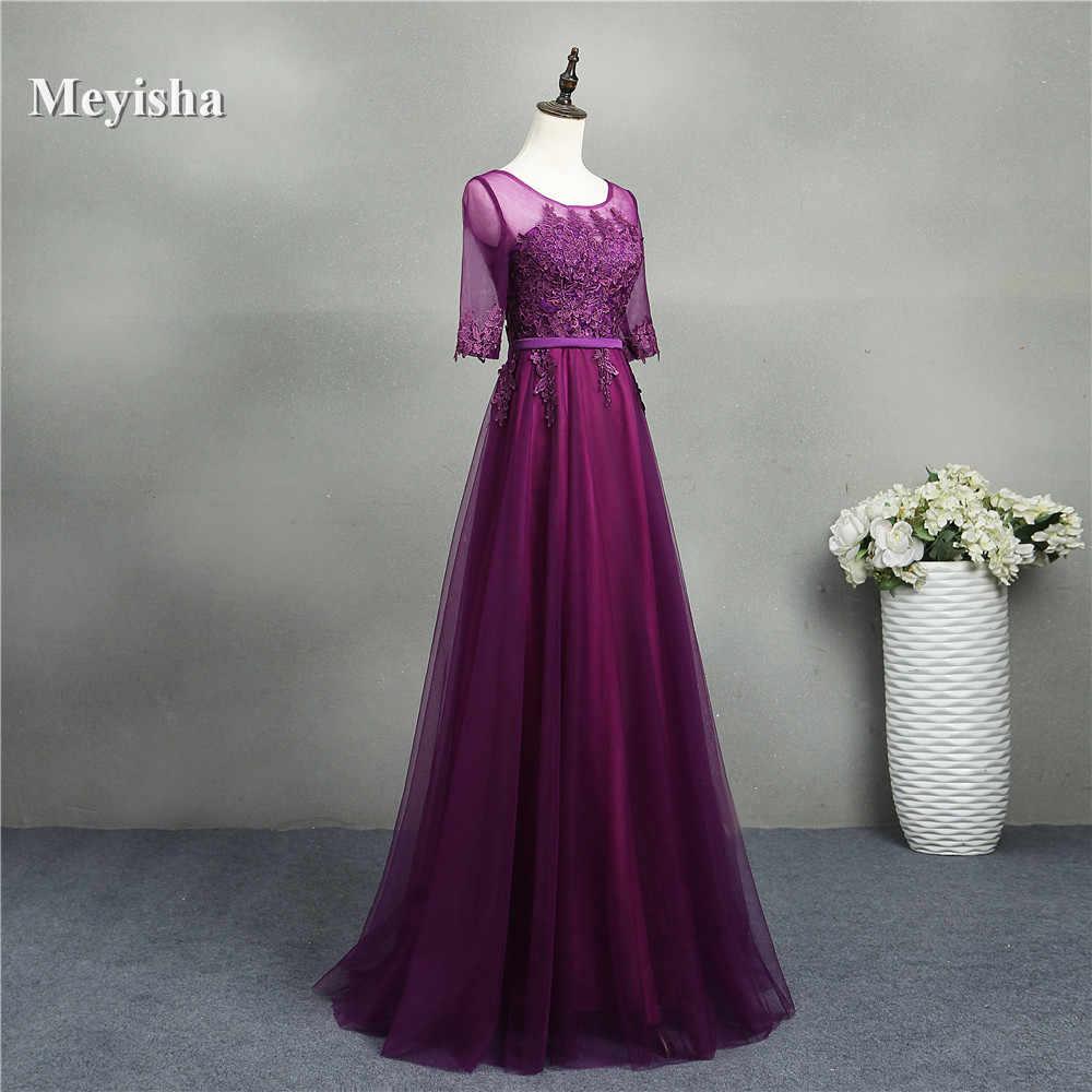 ZJ7031 אופנה תחרה סקסי ללא משענת ארוכה טול o צוואר סגול ערב שמלות אלגנטי המפלגה שמלה לנשף בתוספת גודל מקסי תפור לפי מידה