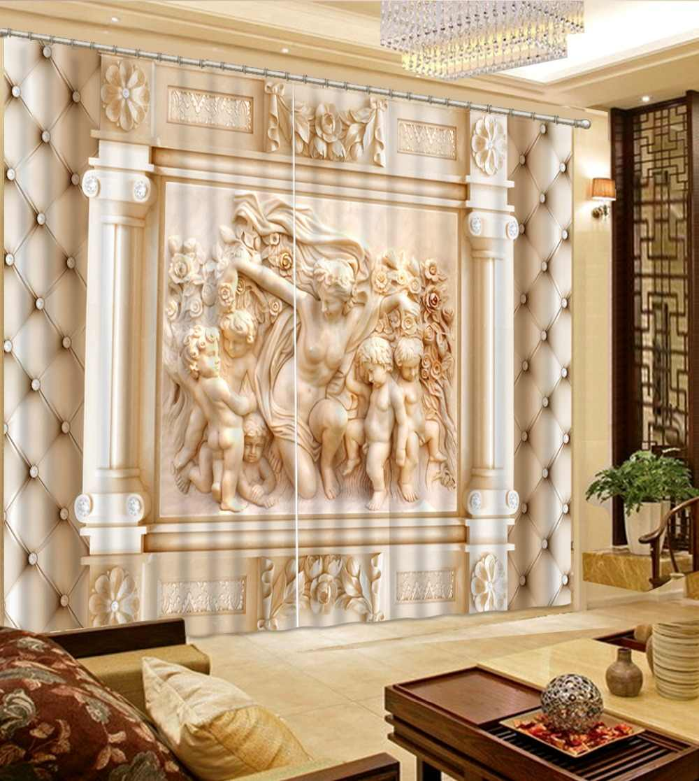 European luxury Curtain Custom 3d Photo High quality sea landscape Curtains For Living Room Bedroom 3D Window Curtains