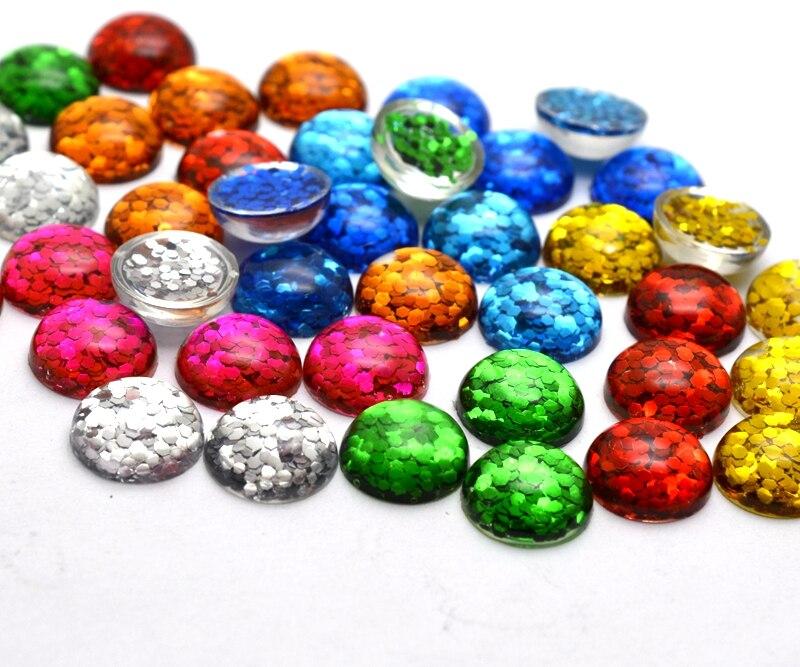 40 шт 12 мм Разноцветные выпуклые серии плоской задней блестящая Смола Кабошоны Камея Jewelry аксессуары 301