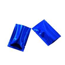 100pcs/lot 9*13cm Blue Glossy Surface Flat Open Top Aluminum Foil Packaging Bag Retail Coffee Powder Tea Vacuum Food Storage