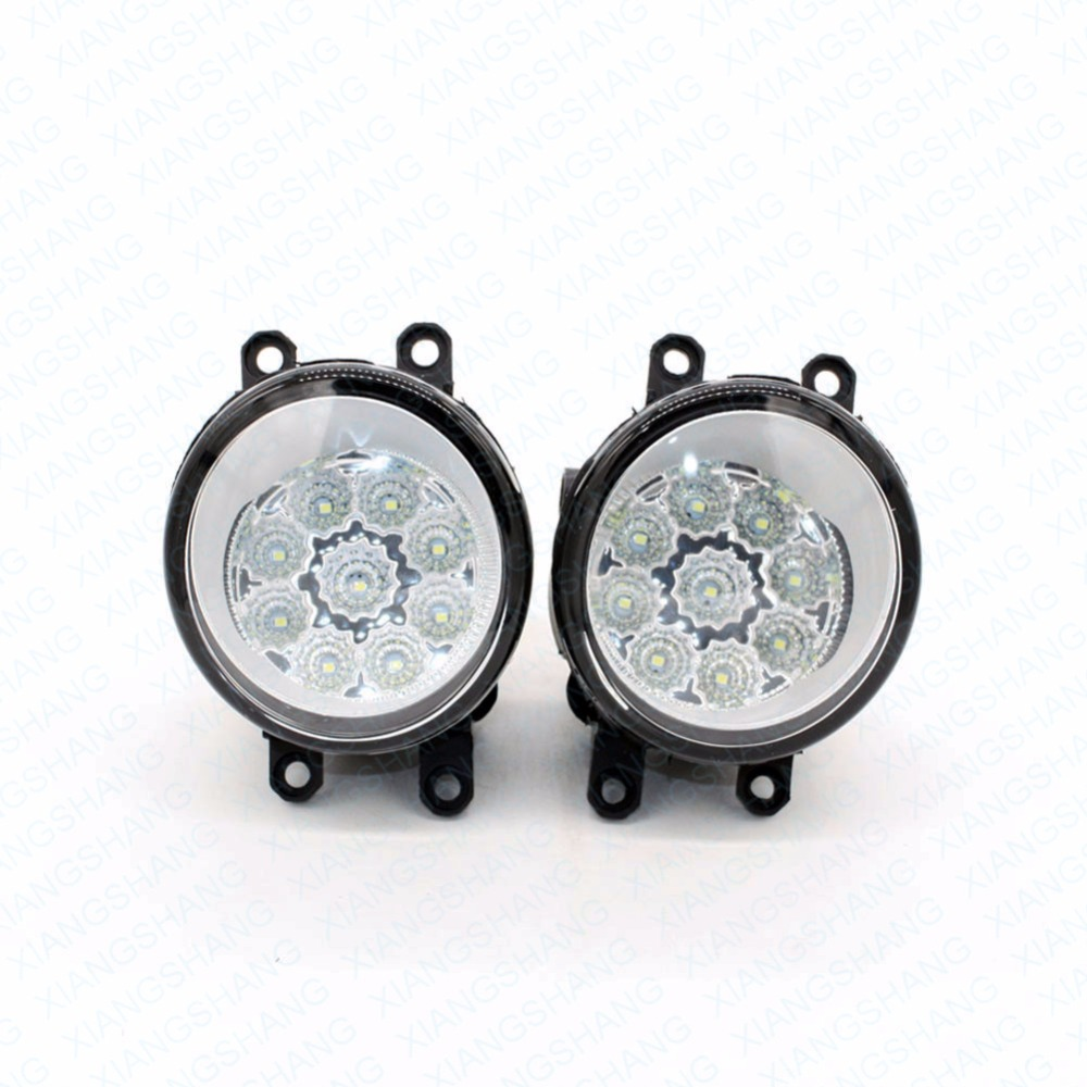 2pcs Car Styling Round Front Bumper LED Fog Lights High Brightness DRL Day Driving Bulb Fog Lamps  For TOYOTA Avalon 2008-2012 led front fog lights for renault koleos hy 2008 2013 2014 2015 car styling bumper high brightness drl driving fog lamps 1set