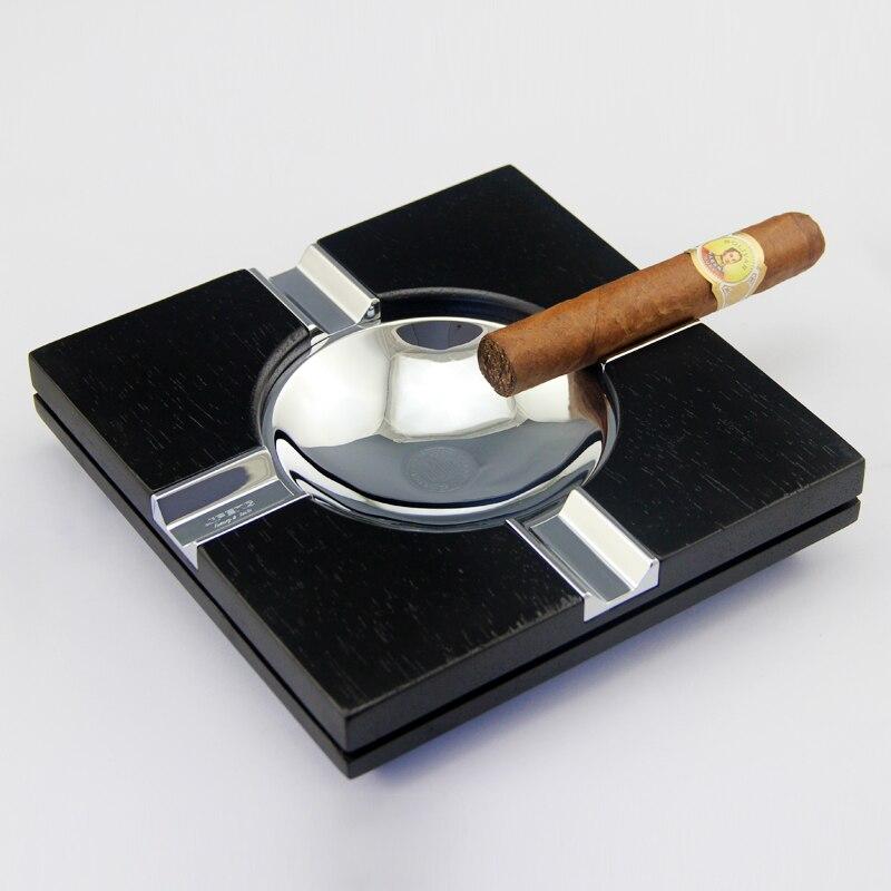 Cendrier à cigares en bois Merbau en forme de cuillère en titane en forme de cuillère noire et marron de luxe