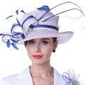 Kueeni Женщины Вс Шляпы Перья Белый Синий Цвет Леди Weddding платье Носить Церковь Партия Элегантный Леди Цветочный Узор Матч Костюм горячая