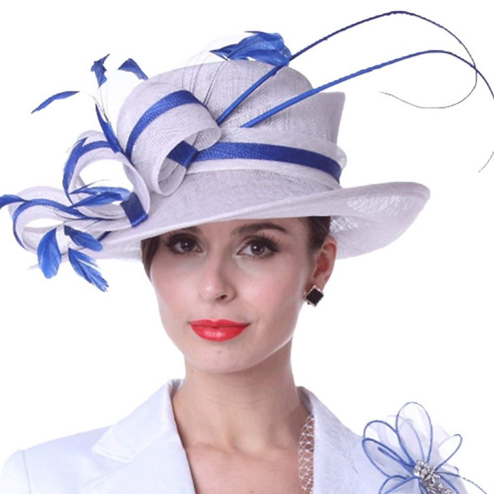 Kueeni Women Sun Hats Feathers White Blue Color Lady Weddding Dress Wear Church Party Elegant Fl Pattern Match Suit Hot In Fedoras From S