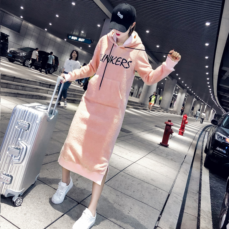 Autumn and winter loose hooded super long section plus velvet thickening cute hooded dress skirt lambskin long skirt dress femal