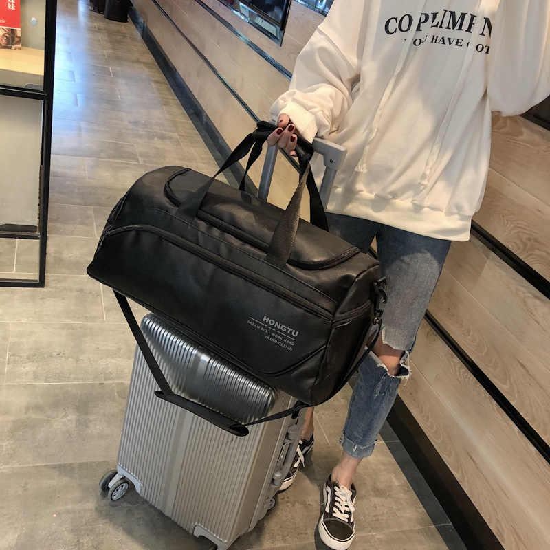 Черный Wo для мужчин s Туристические сумки с ручками большая дорожная сумка вести чемодан сумка женский большой вещевой мешок ночь выходные из искусственной кож