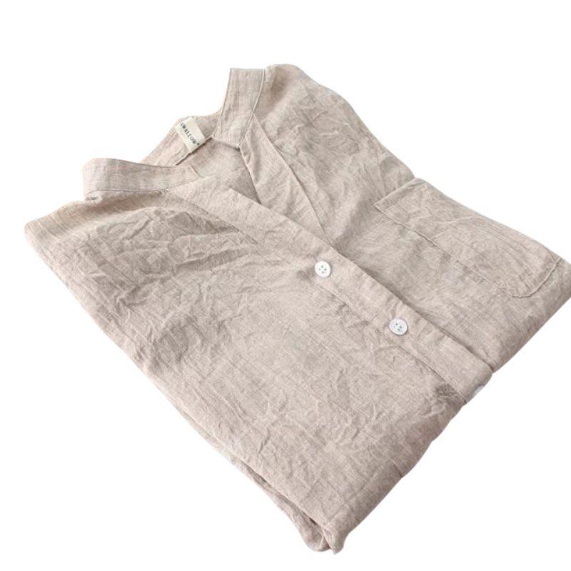 Mujeres Button Down Blusa De Lino Elegante Escarpado de Manga Larga Camisas de V