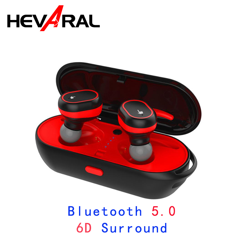 HEVARAL Touch Control 6D Surround Earbuds TWS 5.0 Earphones For xiaomi huawei samsung Mini Headset Dual Stereo Sports Waterproof