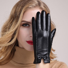 Autumn Winter Women's Genuine Leather Gloves Female Thicken Warm Sheepskin Gloves Fashion Elegant Lady Driving Glove MLZ033