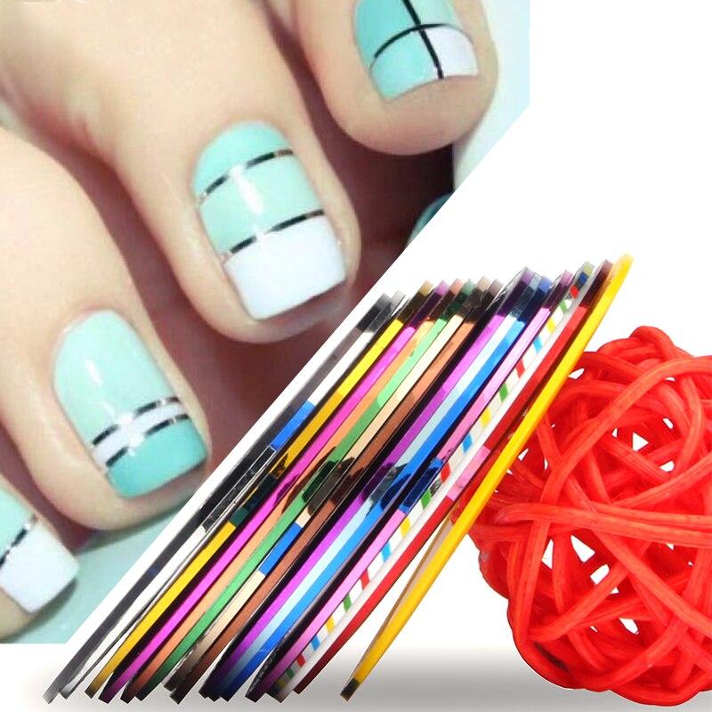 16pcs/lot 1mm Nail Art Stickers Decals 3D Nail Striping Tape