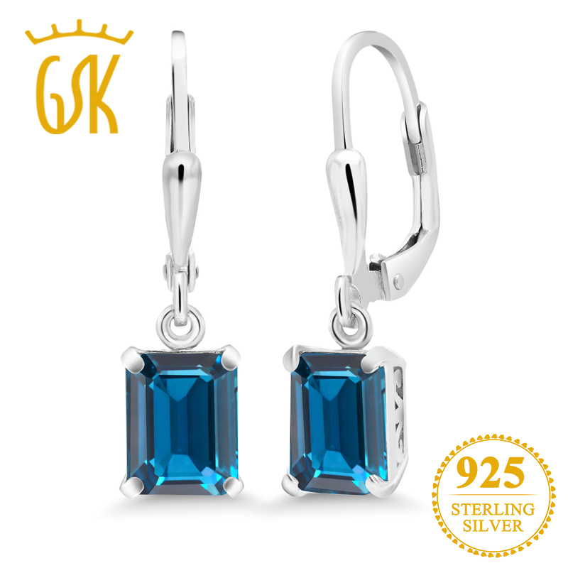 GemStoneKing 3.90 Ct Octagon London Blue Topaz 925 Sterling Silver Earrings For Women