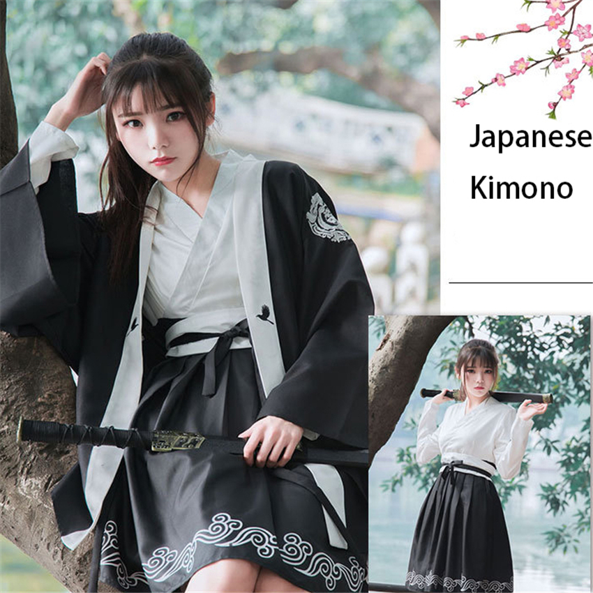 Japanese Style Bushido  Haori Kimono Dress For Women Traditional Japan Clothing Asian Clothes Robe Lolita Kawaii Girls Yukata
