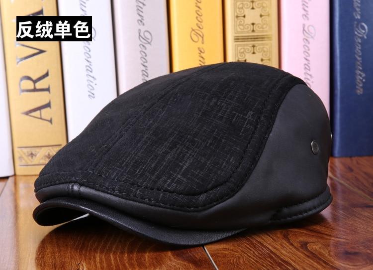 mens winter sheepskin leather baseball caps (11)