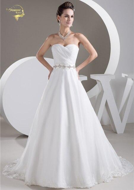New White / Ivory Luxury Vestido De Noiva Robe De Mariage Bridal Gown A Line Organza Perfect Belt Wedding Dresses 2019 YN 9708