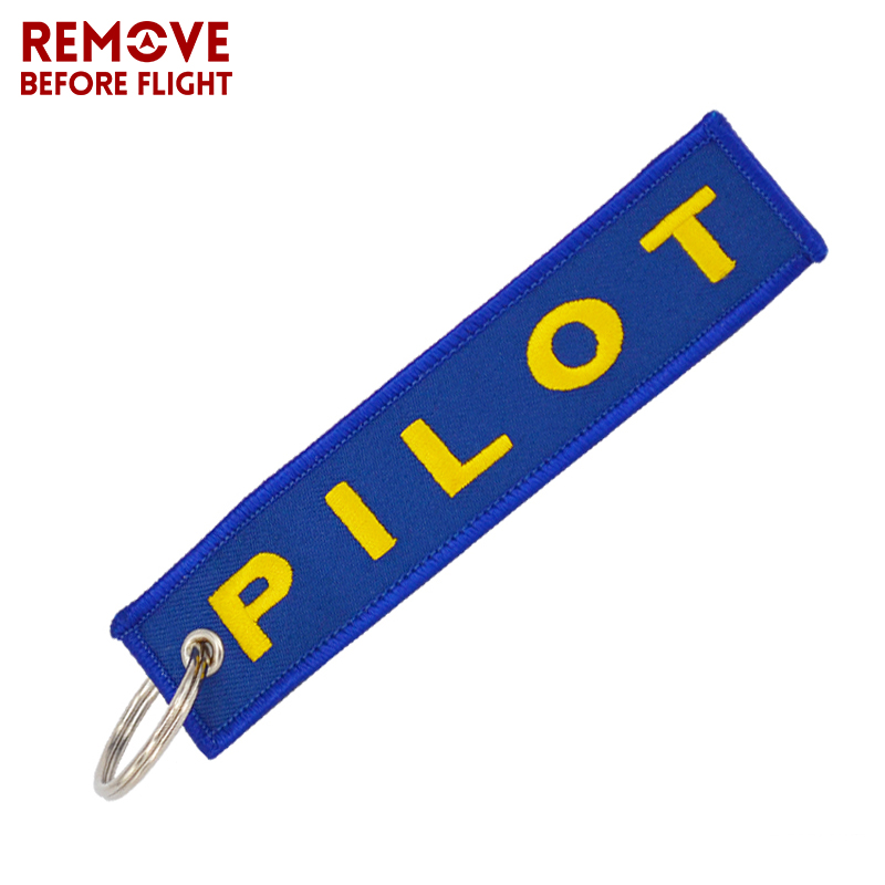Fashion Pilot Key Chain Remove Before Flight OEM Embroidery Blue Key Label Luggage Safety Tag Keyring Aviation Gifts chaveiro