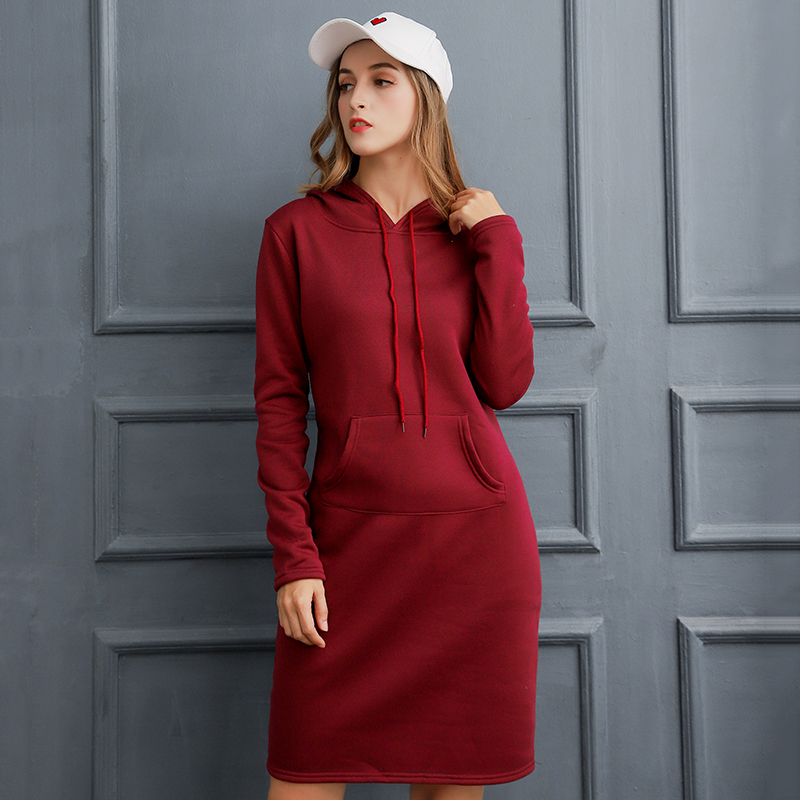 Autumn Winter Warm Sweater Slim Long-sleeved Dress 2019 Woman Clothing Hooded Collar Pocket Design Simple Woman Dress