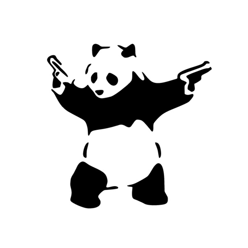 PANDA DENGAN SENJATA VINYL DECAL CAR WINDOW BUMPER STIKER BANKSY ART