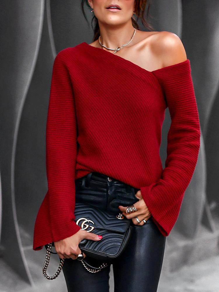 2019 Autumn Women Fashion Elegant Casual Skew Neck Shirt Female Winter Bell Sleeve Flare Sleeve Blouse