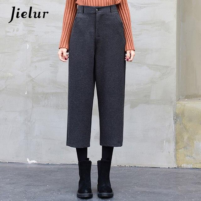 Jielur Solid Color Winter Woolen Pants Female 2018 Korean Fashion