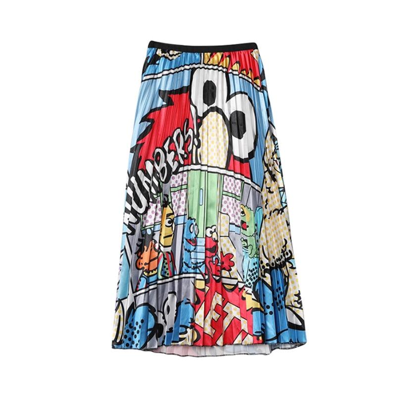 CR Women Skirts Floral High Elasticity Cartoon Printing Midi Pleated Skirt Jupe Femme Spring Summer Autumn Skirts