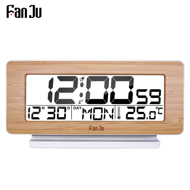FanJu FJ3523 デジタルアラーム時計 LED 電子 12 H/24 960h アラームとスヌーズ機能温度計バックライトデスクトップテーブル時計