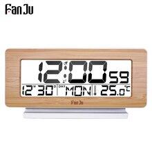 FanJu FJ3523 นาฬิกาปลุกดิจิตอล LED อิเล็กทรอนิกส์ 12 H/24 H และฟังก์ชั่น Snooze เครื่องวัดอุณหภูมิเดสก์ท็อปตารางนาฬิกา
