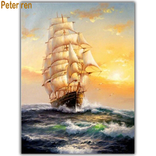 Diy Diamond painting cross stitch landscape 5d Square\Round mosaic Rhinestone Full embroidery Smooth sailing Sea surface