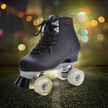 Roller Skates Black With White Led Lighting Wheels Double Line Skates Adult 4 Wheels Two line Roller Skating Shoes