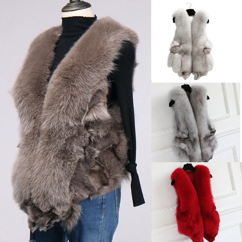 ETHEL ANDERSON Natural Full Pelt Vulpes Lagopus Fox Fur Vest In Real Fur Women Genuine Fox Gilet Winter Medium Waiscoat Female