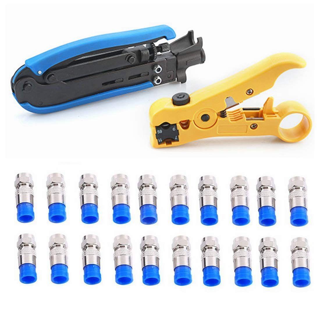 RG6,RG59,RG11 Coax Coaxial Cable Crimper Adjustable Stripper Compression Tools