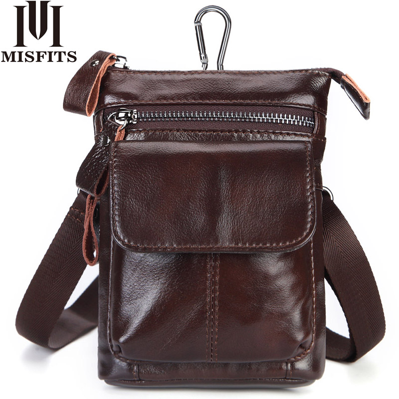 цены на MISFITS Genuine Leather Belt Waist Packs Men Bags Vintage Men Shoulder Crossbody Bag Male Messenger Bags Phone Small Waist Bag